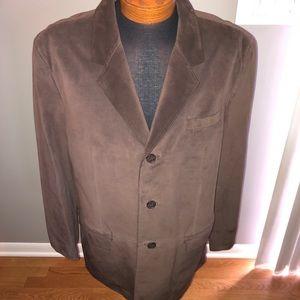 Gorgeous cezani brown leather sport coat -size 48r